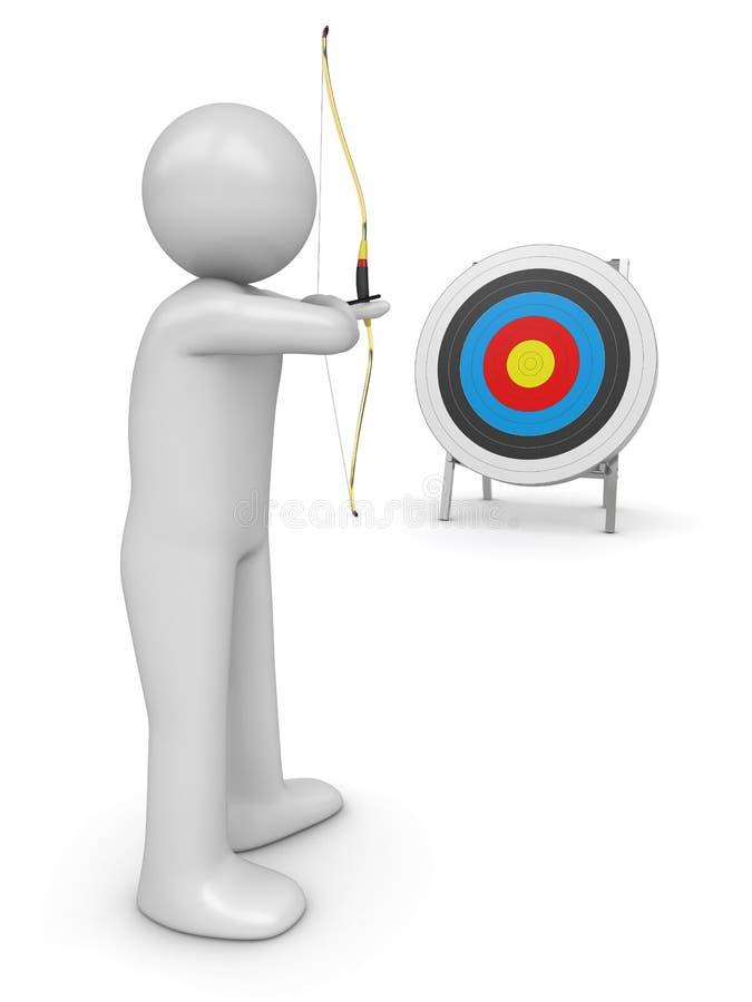 Archer orientant la cible image stock