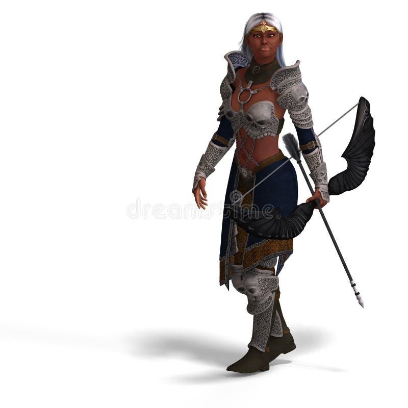 Archer oscuro de sexo femenino del duende ilustración del vector