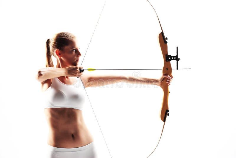 Archer risoluto della giovane donna fotografia stock