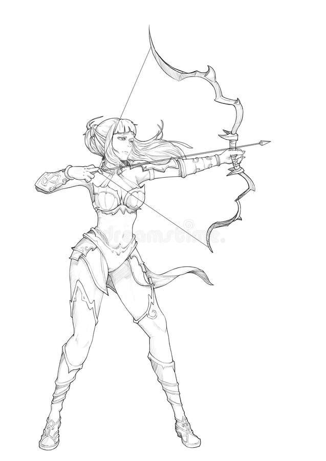 Archer Sketch del mondo di fantasia medievale royalty illustrazione gratis