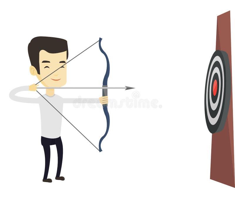 Archer som siktar med pilbågen och pilen på målet royaltyfri illustrationer