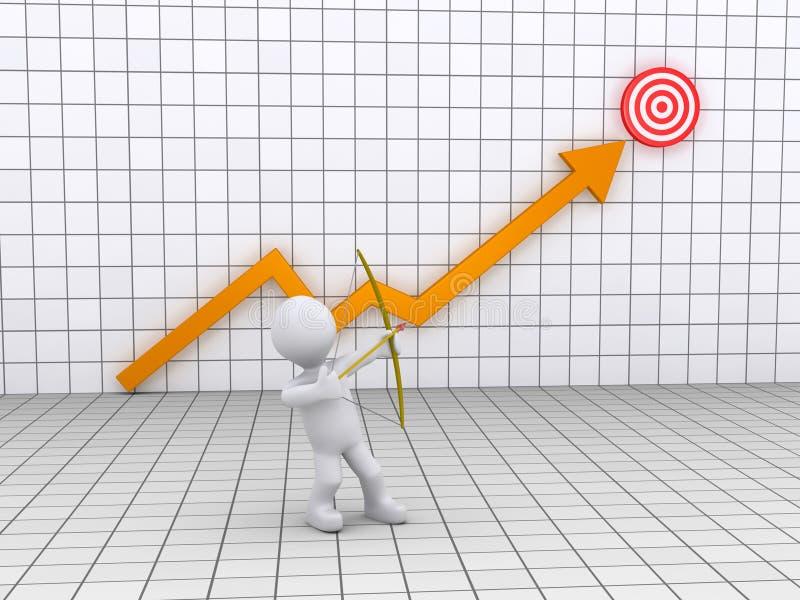 Archer som siktar på ett mål och en graf vektor illustrationer