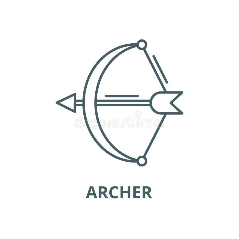 Archer wektoru linii ikona, liniowy poj?cie, konturu znak, symbol ilustracja wektor
