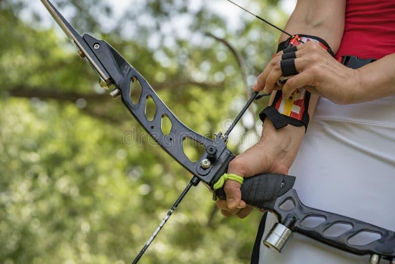 Archery как бег дисциплины спорта в зале и в природе Конкуренция для самой лучшей съемки стрелка в цели стоковое изображение rf