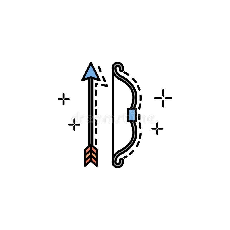 archery, охотник, смычок, стрелка, оружие, значок спорта Элемент значка цвета истории для мобильных приложений концепции и сети A бесплатная иллюстрация