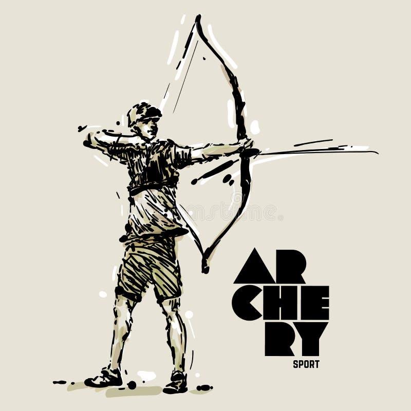 archery Estilo del bosquejo ilustración del vector