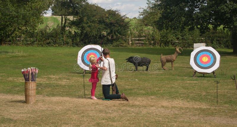 Archery lesson stock photo