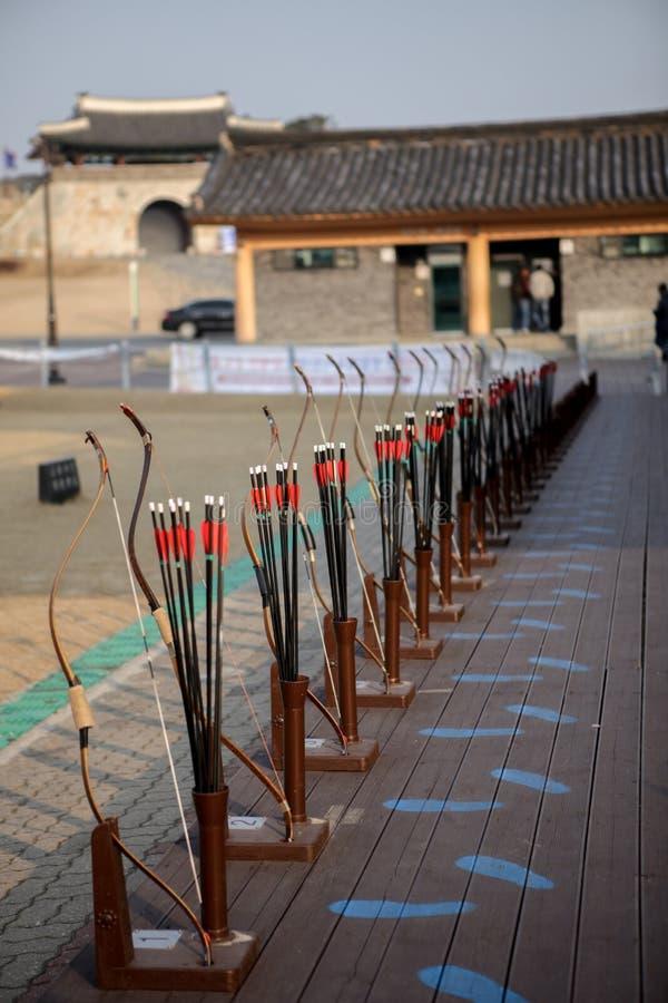 Archery. In the park in Korea stock image