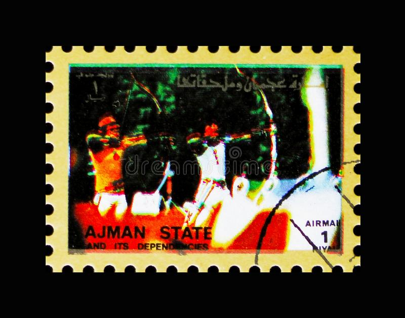 Archery, Summer Olympics serie, circa 1972. MOSCOW, RUSSIA - NOVEMBER 10, 2018: A stamp printed in Umm al-Qaiwain shows Archery, Summer Olympics serie, circa royalty free stock photography