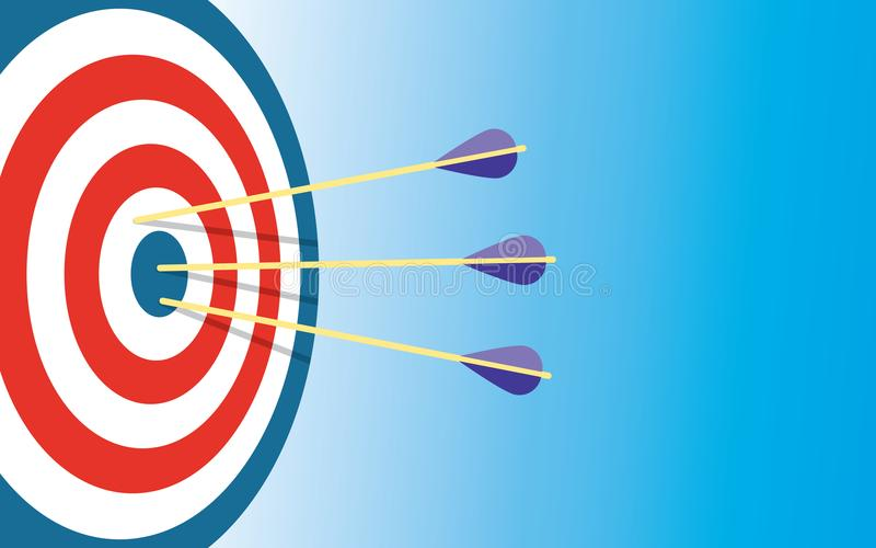 Archery Target With 3 Arrows royalty free illustration