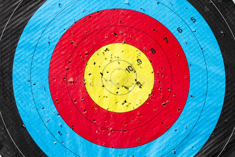 Archery Target. Heading Perfection. Many attempts to hit the Bull's-Eye stock images