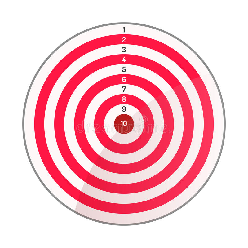 Archery target red white. Caption from 10 to 1. Vector illustration. White background. Eps10 stock illustration