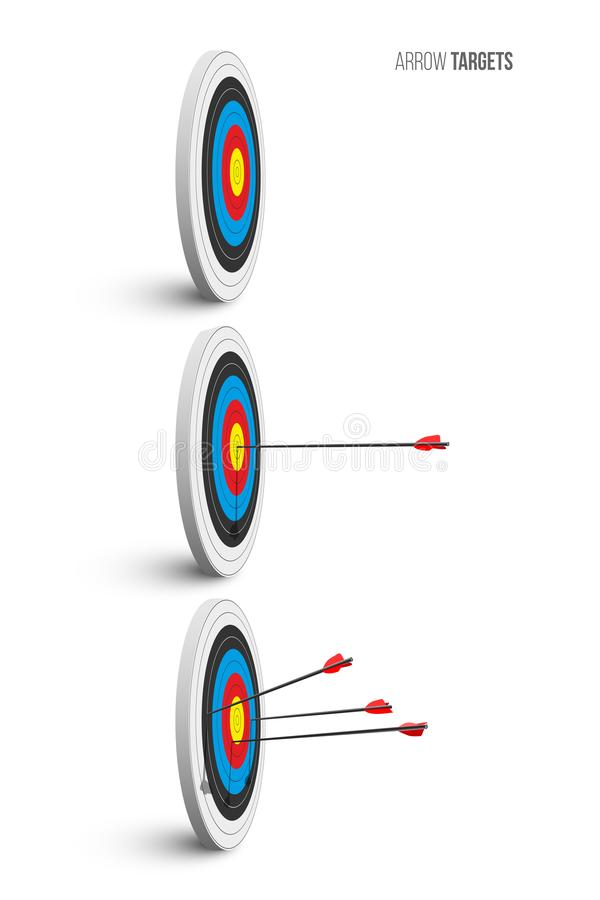 Archery target set. Archery targets with red arrows isolated on white background. Vector poster or banner template. stock illustration