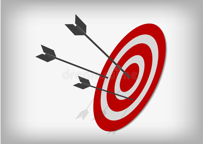Archery targets and arrows on gray background royalty free illustration
