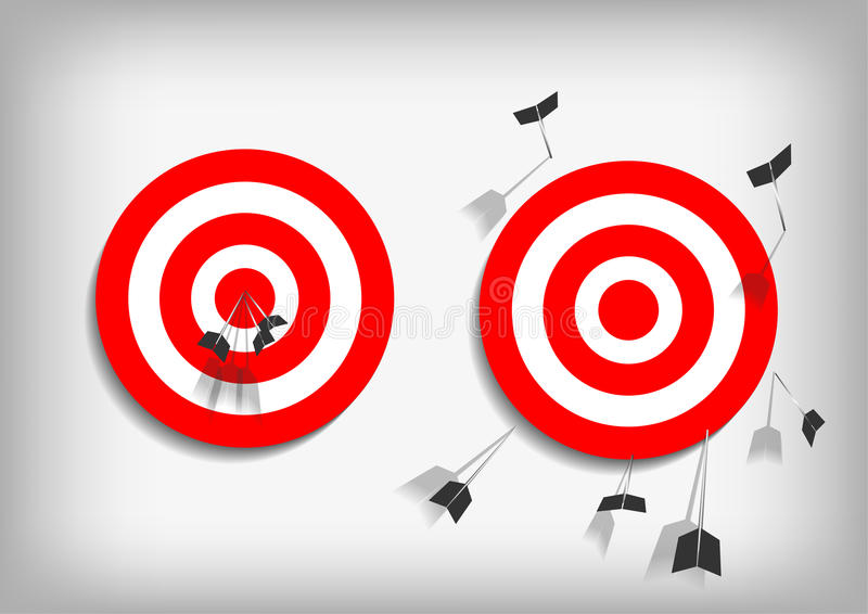 Archery targets and missed arrows on gray background royalty free illustration