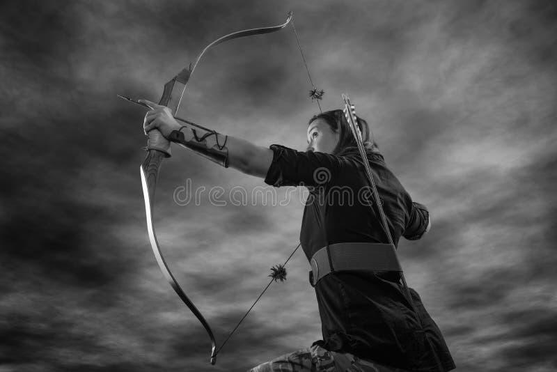 Archery woman stock image