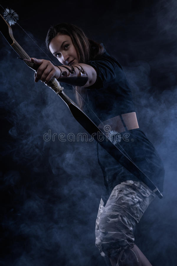 Archery woman stock images
