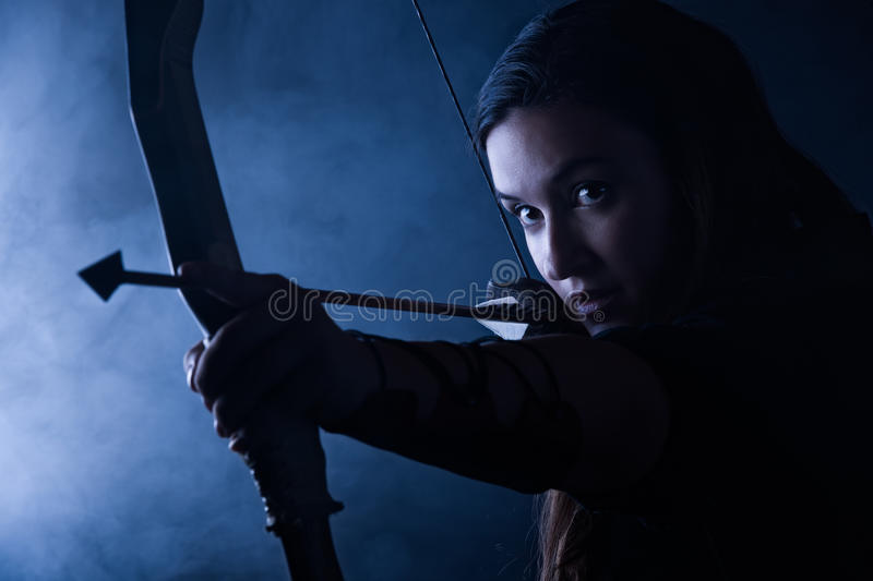 Archery woman royalty free stock images