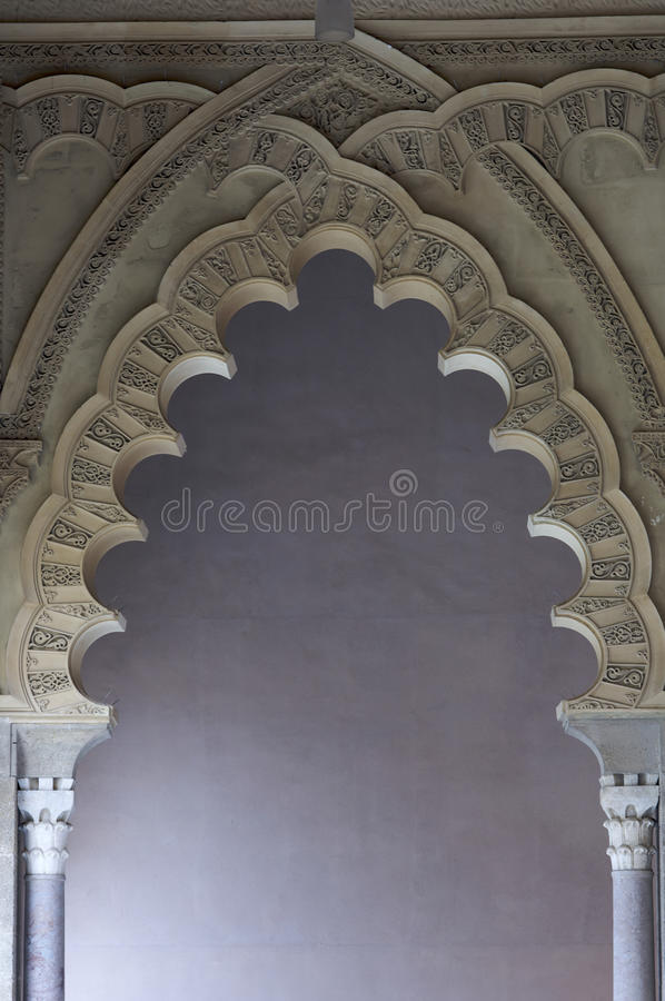 Arches. In Aljaferia palace in Saragossa, Spain royalty free stock photos