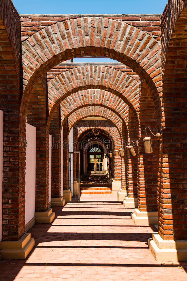 Arches at the Adobe Guadalupe Winery in Ensenada, Mexico royalty free stock image