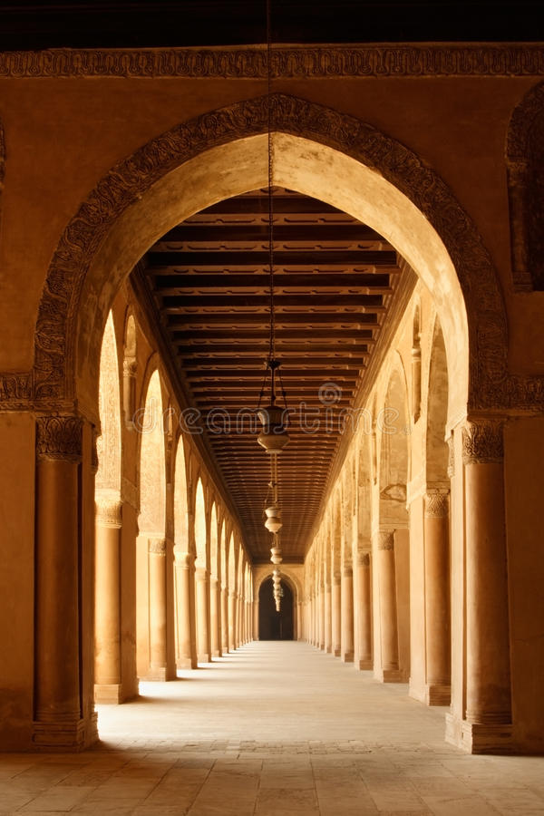 Arches of Ahmad Ibn Tulun Mosque in Cairo, Egypt stock images