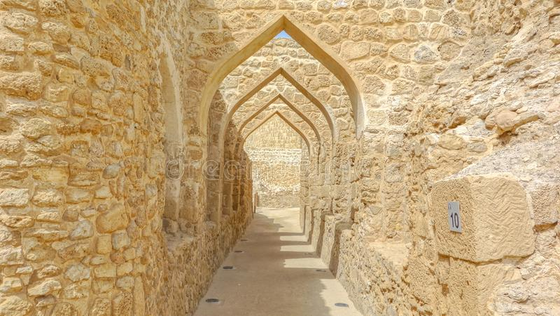 Arches at Al Qalat Fort, Qal`at al-Bahrain royalty free stock images