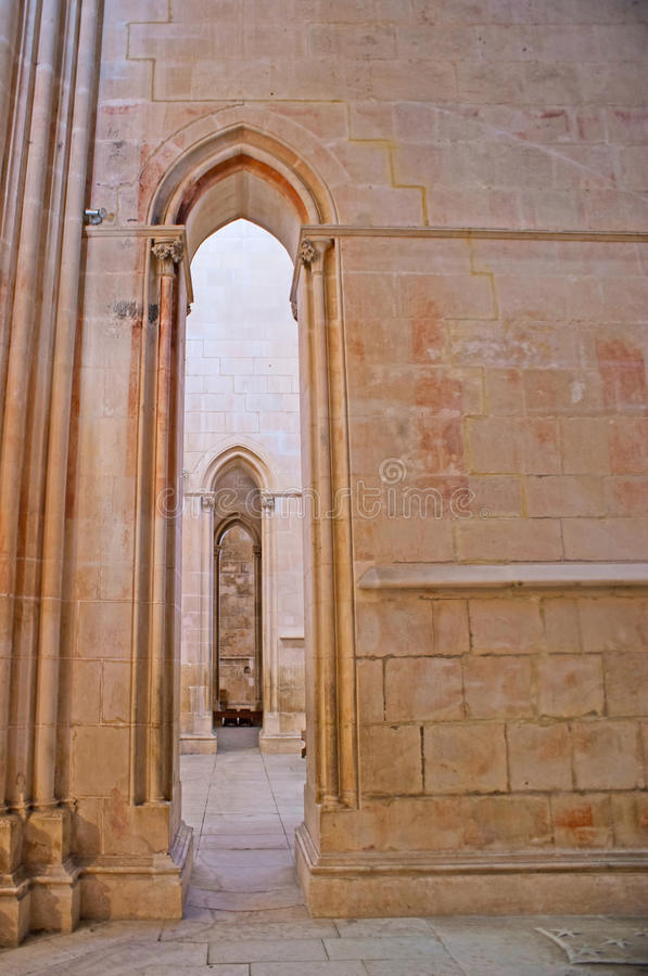 The arches in Batalha Monastery royalty free stock images
