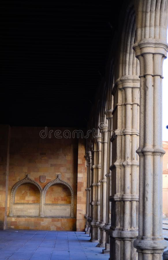 Arches of the Church of San Vicente in Avila. Arches of the Basilica of San Vicente at the entrance of the walled city of Avila built initially in Romanesque stock image