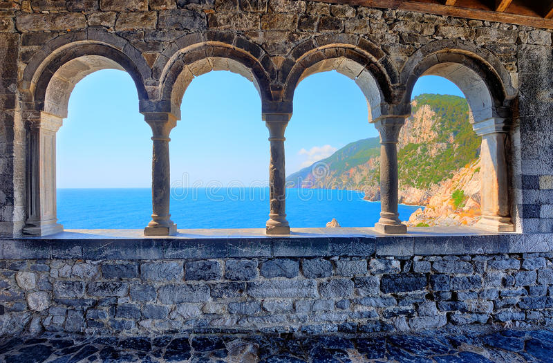 Arches of the church of St. Peter in Porto Venere royalty free stock photos