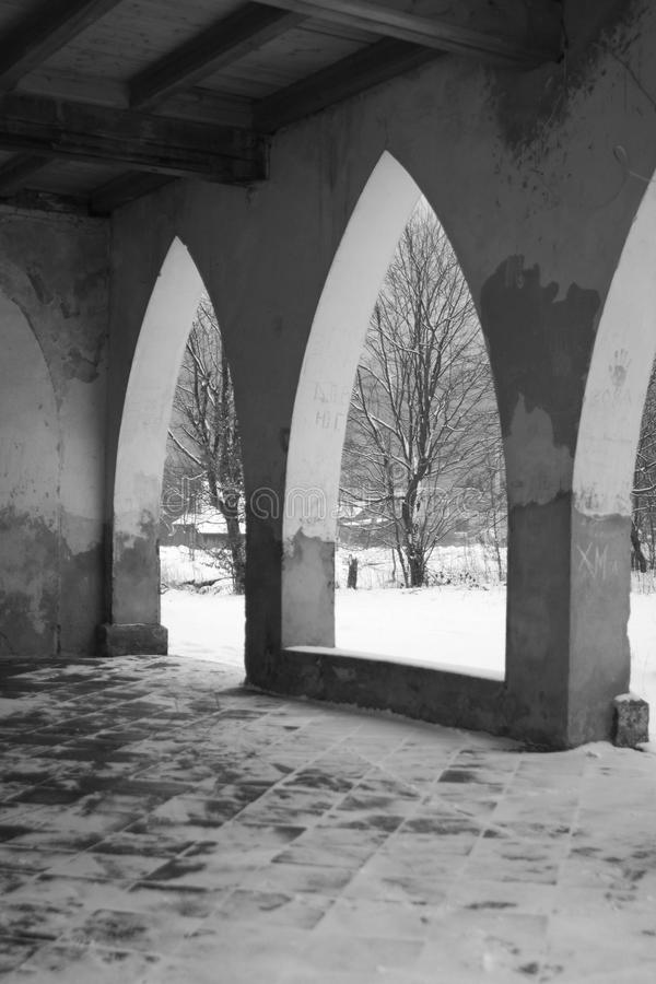 Arches and columns in the old building royalty free stock image