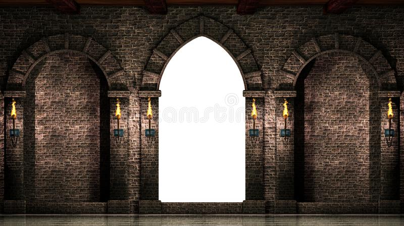 Arches and gate isolated. Medieval castle arches and gate isolated on white background.3d illustration royalty free illustration