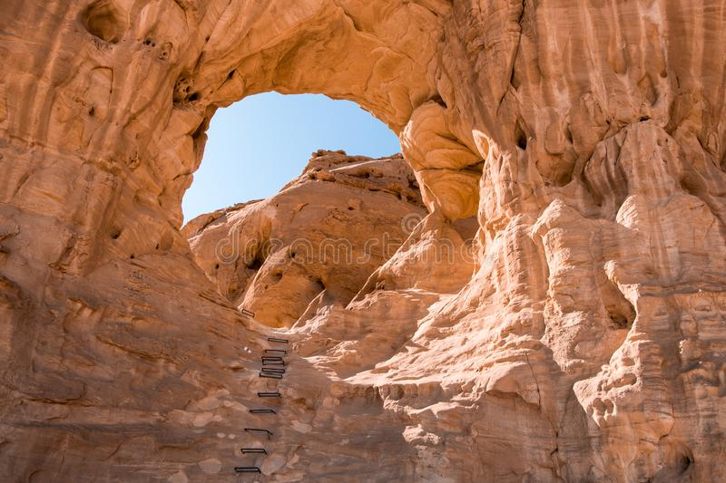 Big Arch in Timna Park, Israel. Arches geological rock formations in Timna Park, Israel. Daytrip from Eilat royalty free stock images
