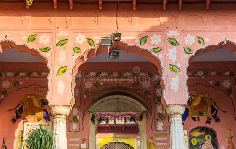Arches of the Govardhan Nath Ji Ka Mandir temple in downtown Jaipur stock image