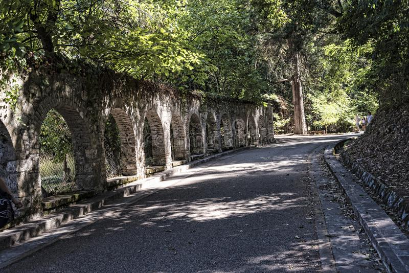 Arches in the Grounds of the Mon Repose Palace in Corfu Greece stock photo