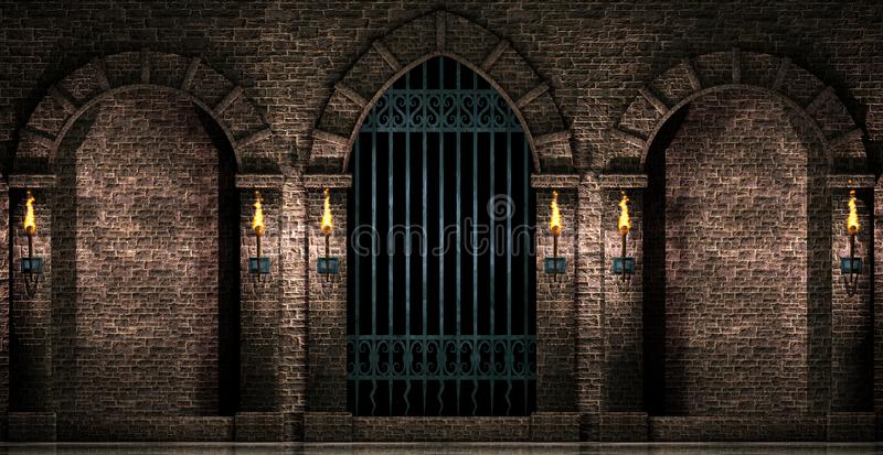 Arches and iron gate stock illustration