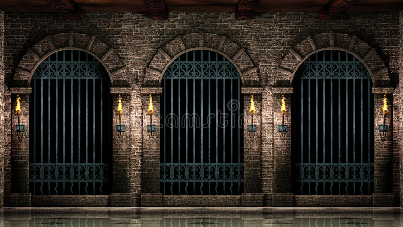 Arches and iron railings stock illustration