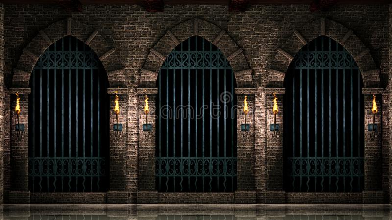 Arches with iron railings and torches royalty free illustration