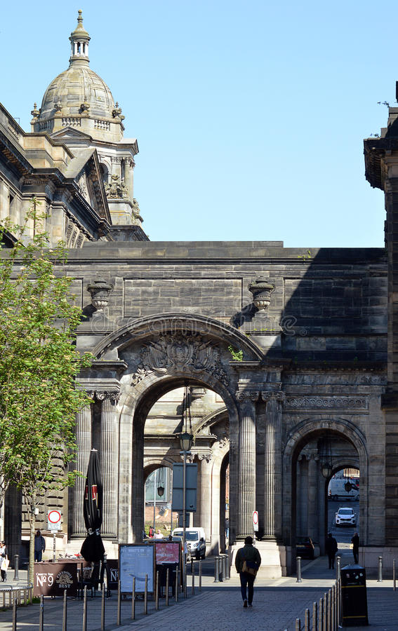 Arches in John Street, Merchant City, Glasgow, Scotland stock photography