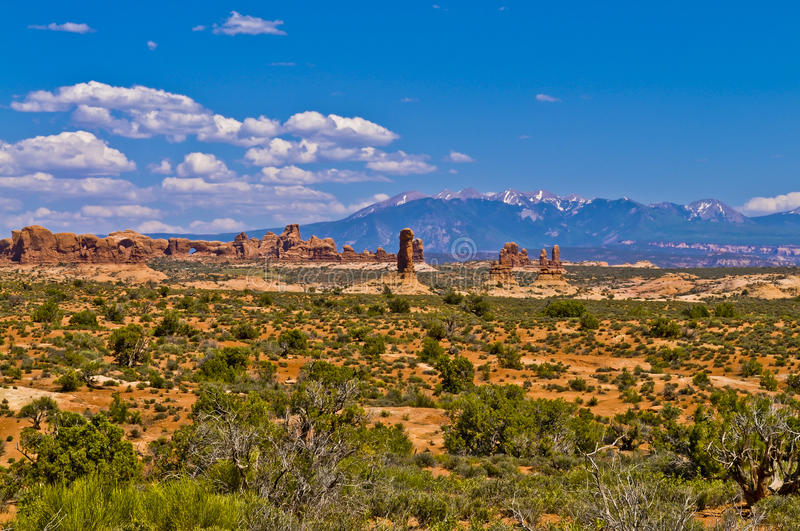 Arches National Park. Arches Rock Formations with La Sal Mountains in the Background stock photos