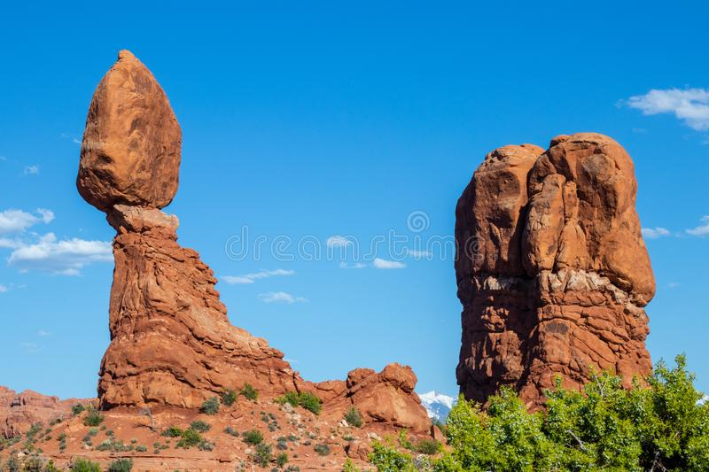 Arches National Park, eastern Utah, United States of America, Delicate Arch, La Sal Mountains, Balanced Rock, tourism, travel. Destionation royalty free stock photos