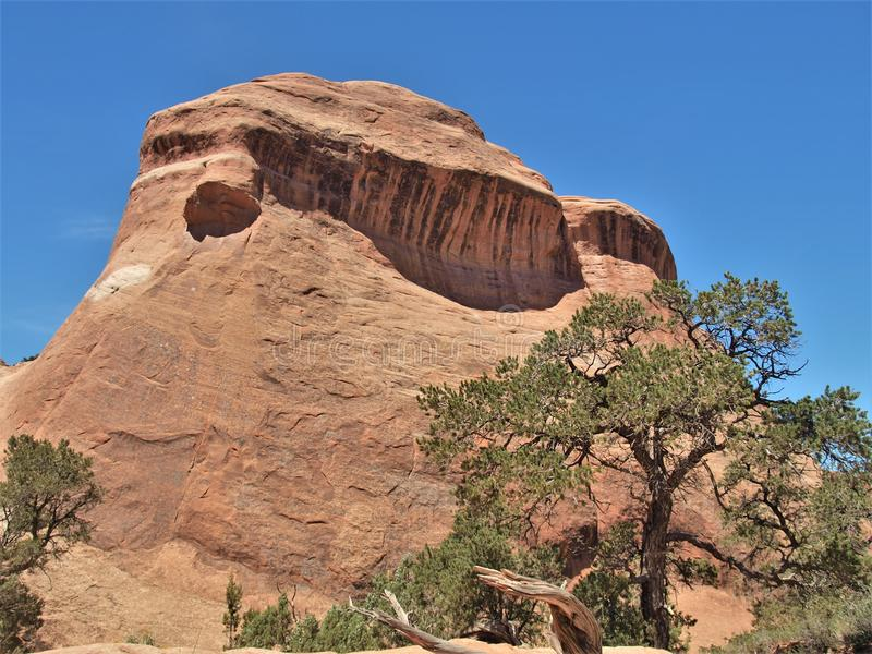 Rock Formations at Arches National Park in Utah. Arches National Park near Moab, Utah is red rock country. It has over 2000 natural stone arches and numerous royalty free stock photography