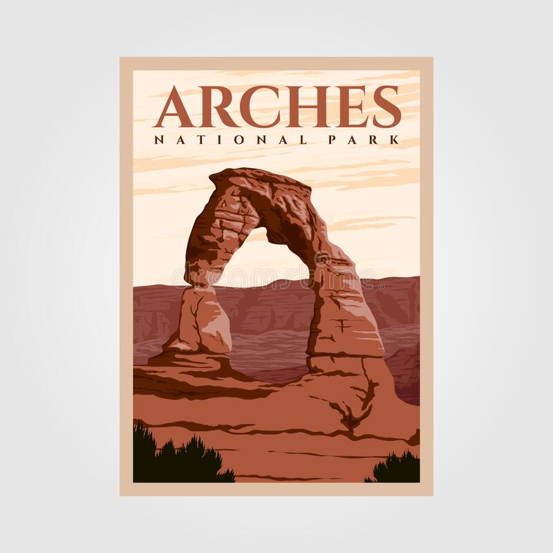 Free Arches National Park Outdoor Adventure Vintage Poster Illustration Designs Royalty Free Stock Photo - 194114745