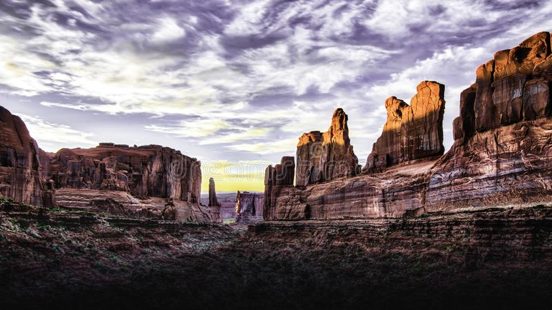 Arches national Park sunset in Utah royalty free stock image
