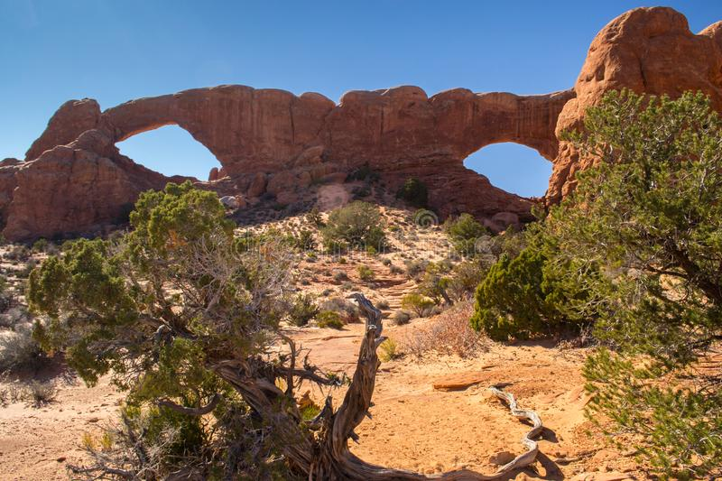 Arches National Park, Utah: double o arch royalty free stock photo