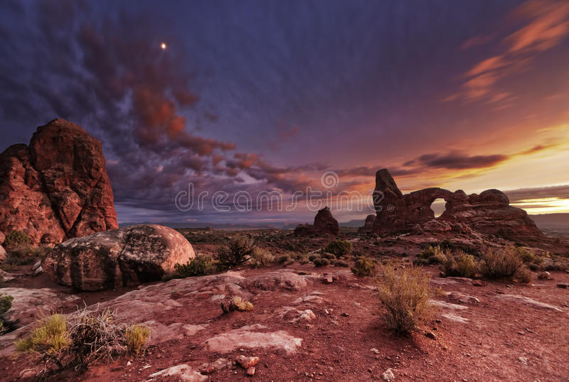 Arches National Park, Utah, USA. Turret Arch at sunset, Arches National Park, Utah, USA stock photo