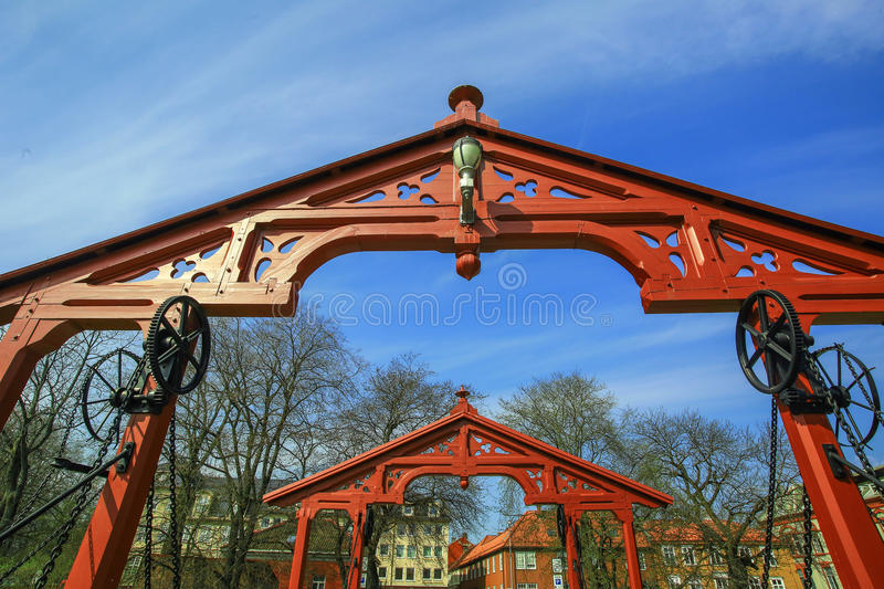 Arches on The Old Bridge, Trondheim. Red arches on The Old Bridge, Trondheim, Norway royalty free stock photography