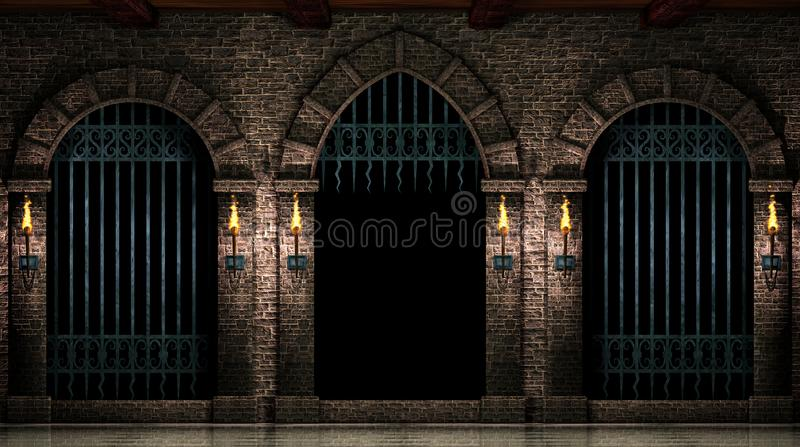 Arches and open iron gate stock illustration