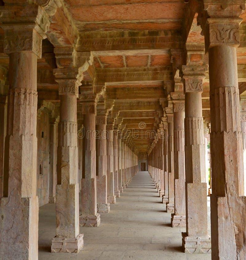 Ancient Stone Pillars : Historic stone pillars of ancient palace india stock photo