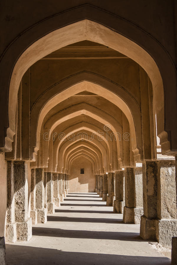 Arches of side wall at Rajaon ki baoli in Mehrauli archaeological park. royalty free stock photo