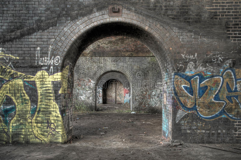 Arches under the railway stock photography